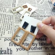 牛奶糖幾何方塊防敏鋼針耳環2色 X RUNWAY FASHION ICON
