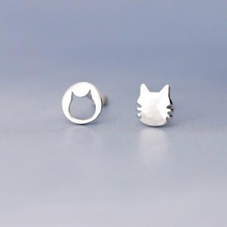 不對稱貓 S925銀耳針2色 X RUNWAY FASHION ICON