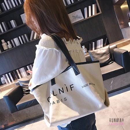 【大款】【小款】【免運】韓版簡約大容量大包小包單肩手提包休閒包購物袋帆布包旅行包(2色) X RUNWAY FASHION ICON