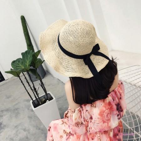 【買一送一】【免運】春夏渡假新款韓版草帽編織帽百搭遮陽防曬晒草编綁帶緞帶日系可折叠式草帽2色 X RUNWAY FASHION ICON