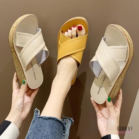 【免運】露趾增高厚底交叉編織涼鞋涼拖鞋贓高涼鞋 (2色) X RUNWAY FASHION ICON