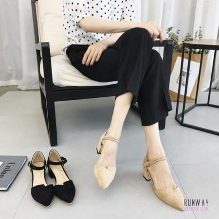 【現貨杏38】【免運】氣質感尖頭中跟休閒鞋高跟鞋 (2色) X RUNWAY FASHION ICON