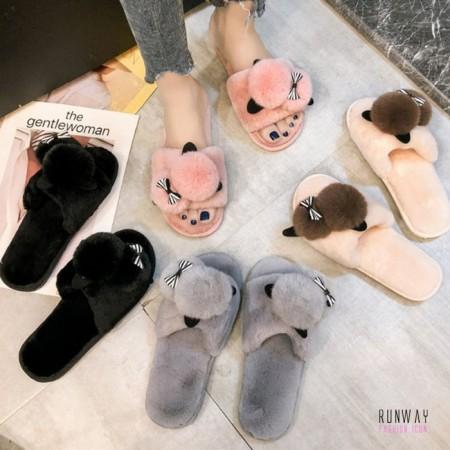 【免運】絨毛拖鞋毛毛萌寵室內拖休閒鞋(3色) X RUNWAY FASHION ICON