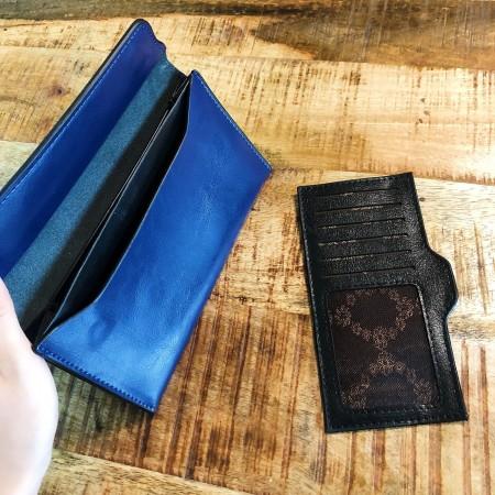【現貨粉.玫紅.藍】簡約輕薄油皮亮面磁扣商務款皮夾長夾