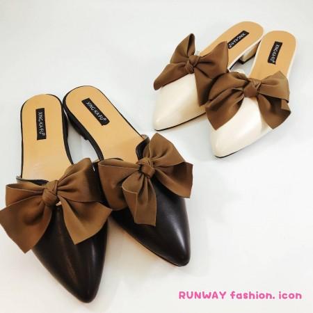 【免運】優雅蝴蝶結尖頭懶人鞋矮跟涼拖鞋2色 X RUNWAY FASHION ICON