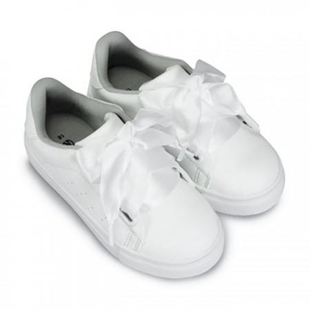 【絕版現貨優惠出清】黑16 白16 粉16 FUFA富發牌國民鞋*絲綢蝴蝶結綁帶兒童休閒鞋(附兩種樣式鞋帶喔)