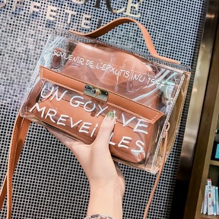【現貨棕色】【影片實拍】韓版字母透明柔美子母方包手提包單肩包斜背包 X RUNWAY FASHION ICON