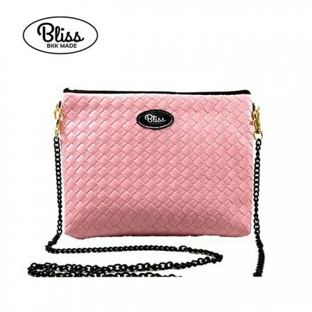 【影片實拍】【正版授權】泰國Bliss BKK包 - 素色編織紋粉紅 手拿包側背包 (4款背帶可選) X RUNWAY FASHION ICON