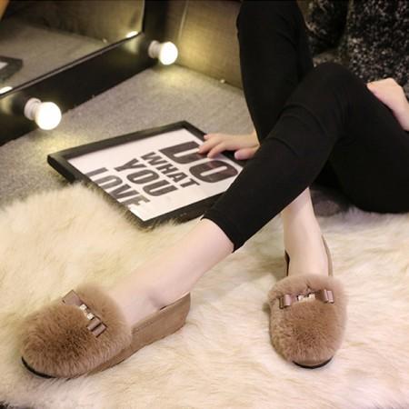 【影片實拍】【免運】韓版休閒圓頭加絨平底包鞋豆豆鞋毛毛鞋家居保暖鞋(2色) X RUNWAY FASHION ICON