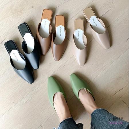 【免運】防潑水尖頭懶人鞋矮跟涼拖鞋 4色 X RUNWAY FASHION ICON