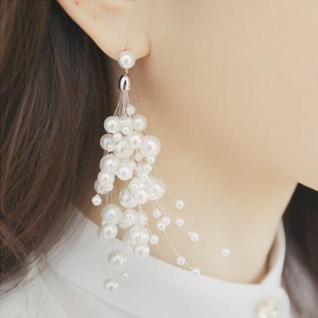 【可改夾】甜美氣質仙女珍珠串耳針耳環X RUNWAY FASHION ICON