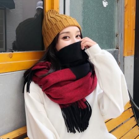 【免運】秋冬加厚雙色仿羊絨流蘇名媛風保暖圍巾圍脖3色 X RUNWAY FASHION ICON