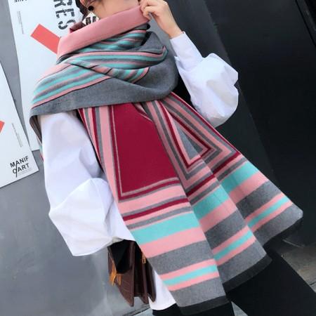 【免運】韓版加厚繽紛彩格拼色雙面保暖圍巾圍脖9色 X RUNWAY FASHION ICON