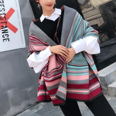 【免運】韓版加厚繽紛彩格拼色雙面保暖圍巾圍脖2色 X RUNWAY FASHION ICON
