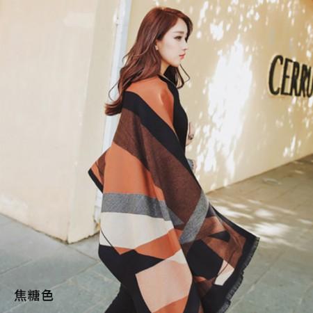 【免運】秋冬仿羊絨雙面兩用都會感繽紛色塊圍巾披肩5色 X RUNWAY FASHION ICON
