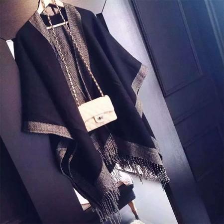 【免運】雙面黑白經典配色披肩保暖圍巾 X RUNWAY FASHION ICON