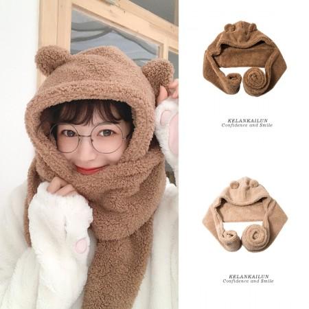【現貨】雙層加厚超保暖小熊熊帽子+圍巾   俏皮可愛耳朵軟萌圍巾圍脖秋冬 (2色) X RUNWAY FASHION ICON