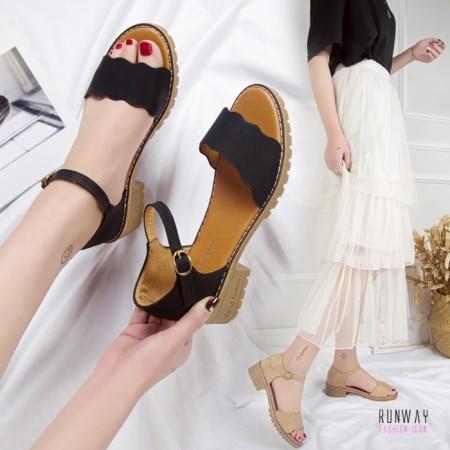 【免運】夏季韓版荷葉邊一字繫帶跟鞋涼鞋休閒鞋渡假鞋 (2色) X RUNWAY FASHION ICON