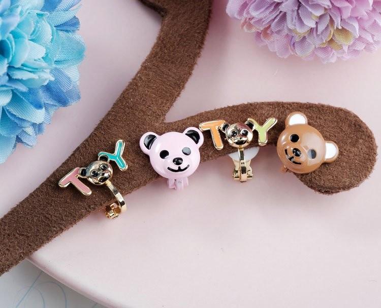 【現貨】【夾式】童趣時光!小熊玩具夾式耳環(粉/棕)