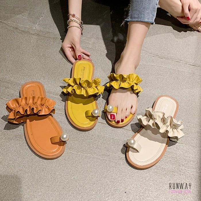 【免運】荷葉邊套指珍珠休閒渡假涼鞋拖鞋平底鞋 (3色) X RUNWAY FASHION ICON