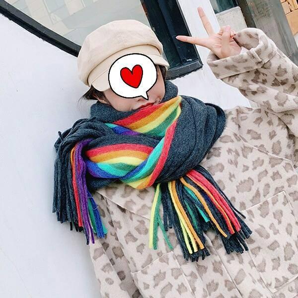 【免運】【彩虹圍巾】雙面彩虹直紋加厚仿羊絨保暖圍巾圍脖4色 X RUNWAY FASHION ICON