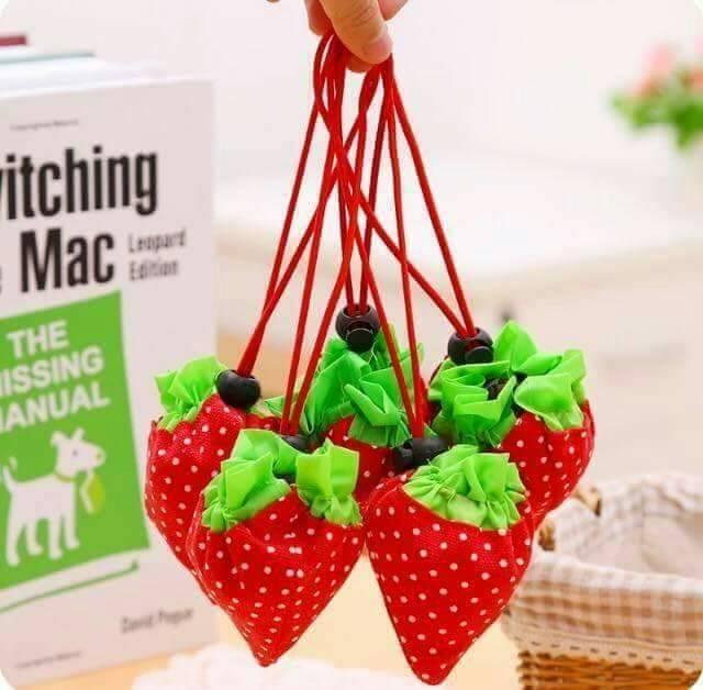 【絕版現貨優惠出清】可愛草莓袋 可折疊環保收納袋 10色