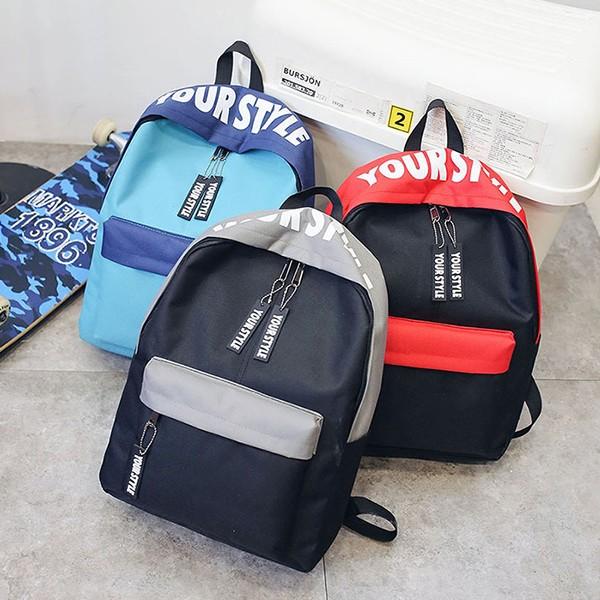 【免運】四季流行亮眼拚色字母拉鍊戶外旅行雙肩後背包手提包(3色) X RUNWAY FASHION ICON