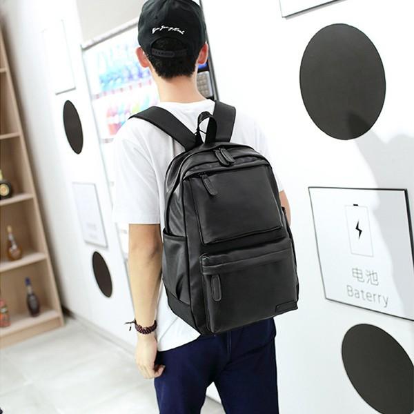 【免運】男女款休閒運動復古皮質單色大容量旅行包後背包雙肩包(2色) X RUNWAY FASHION ICON