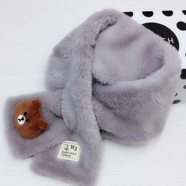 【現貨卡其.綠】可愛熊大柔軟韓國絨小朋友圍巾圍脖 X RUNWAY FASHION ICON