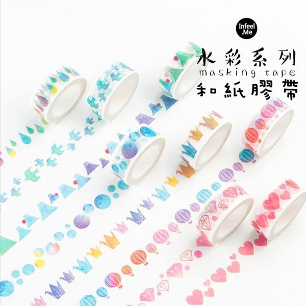 【買三送二】日系文青水彩系列無痕手撕和紙膠帶_15mm*7m單捲入(7色)