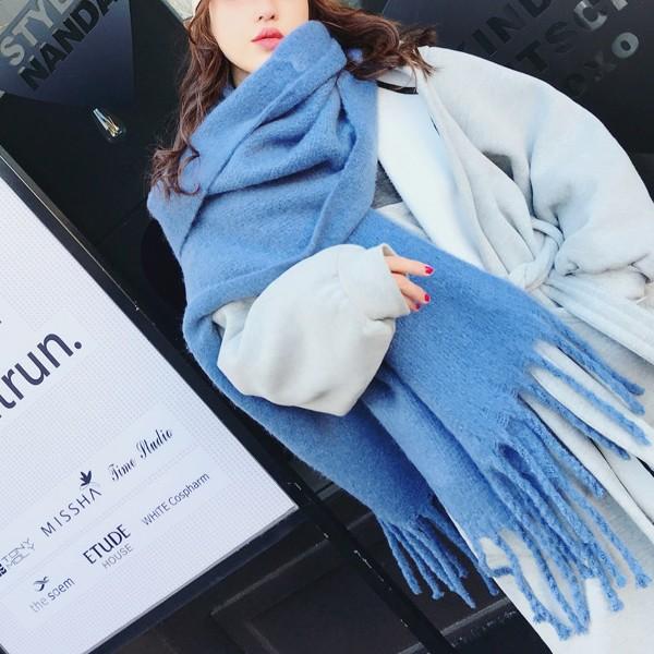 【免運】加厚溫暖單色流蘇大辮子柔軟保暖圍巾圍脖4色 X RUNWAY FASHION ICON