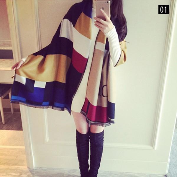 【免運】英倫風格紋百搭加厚仿羊絨格格子保暖圍巾披肩圍脖7色 X RUNWAY FASHION ICON