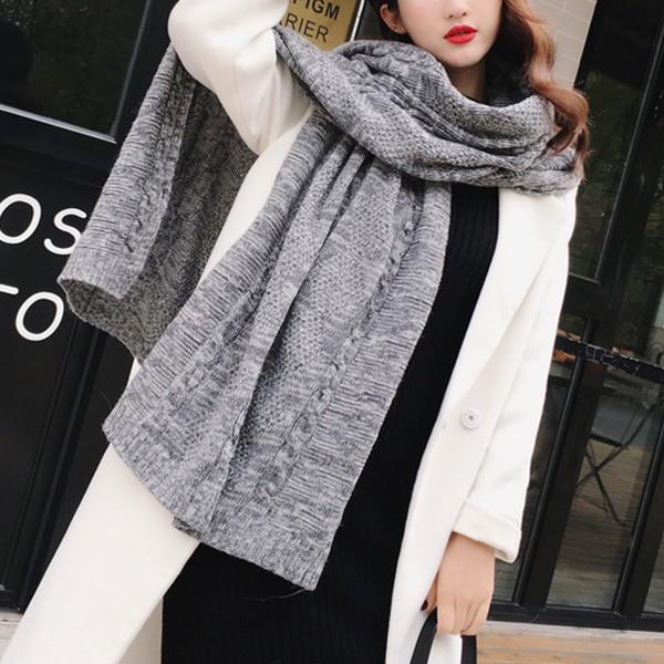 【免運】韓版針織紋螺紋單色加厚保暖圍巾圍脖3色 X RUNWAY FASHION ICON
