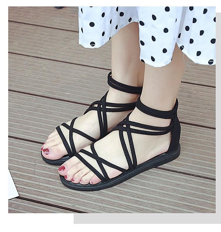 【免運】夏季新款羅馬綁帶凉鞋平底簡約沙灘百搭平底休閒涼鞋 (黑色) X RUNWAY FASHION ICON