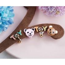 【夾式】【現貨售完不補】童趣時光!小熊玩具夾式耳環(粉/棕)