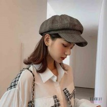 格紋復古英倫風八角帽   棉麻格子百搭貝雷帽薄款保暖帽子 (2色) X RUNWAY FASHION ICON