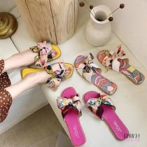 【免運】綁帶印花渡假風質感涼拖鞋懶人鞋平底鞋涼鞋休閒鞋拖鞋 (3色) X RUNWAY FASHION ICON