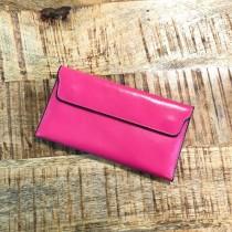【現貨玫紅】簡約輕薄油皮亮面磁扣商務款皮夾長夾