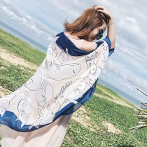 歡樂頌2關雎爾同款絲巾鏈條印花仿真絲巾沙灘披巾防晒圍巾大披肩(33色) X RUNWAY FASHION ICON