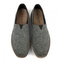 【絕版現貨優惠出清】灰色27 FUFA富發牌國民鞋*休閒單寧布織紋舒適懶人鞋男款