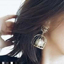 【現貨】【有影片實拍】浮誇系金屬鳥籠造型抗敏針耳針耳環 銀色 X RUNWAY FASHION ICON