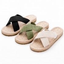 【免運】亞麻寬版交叉平底低跟輕便懶人涼拖鞋(3色) X RUNWAY FASHION ICON