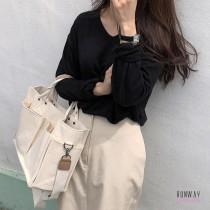 【免運】韓版學院風大容量簡約休閒帆布包多口袋實用單肩包側背包 X RUNWAY FASHION ICON