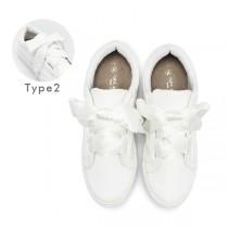 【絕版現貨優惠出清】白色24  FUFA富發牌國民鞋*絲綢蝶結綁帶休閒鞋女款 (附兩種樣式鞋帶喔)