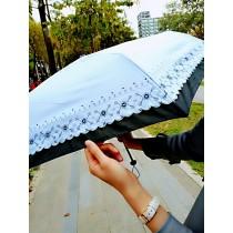【現貨免運】【防風超輕】馬卡龍色 魔法氣質花邊 防風超細輕量傘 / 三折傘 / 黑膠 / 抗UV / 玻璃纖維骨 / 陽傘雨傘(4色) X RUNWAY FASHION ICON
