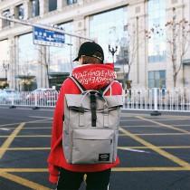 【免運】韓版休閒帥氣中性男士牛津布USB充電雙肩後背包  深灰色 X RUNWAY FASHION ICON