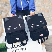 【現貨免運】【影片實拍】貓咪耳朵帆布旅行包雙肩包後背包(2色) X RUNWAY FASHION ICON