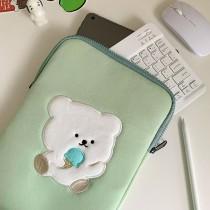 【免運】小熊吃冰淇淋蘋果綠色內膽包筆電包  ♥  可愛NB平板電腦包蘋果11吋13吋15吋 X RUNWAY FASHION ICON