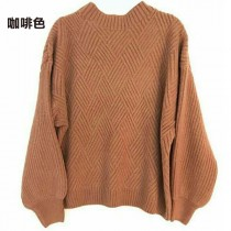 【現貨咖啡】【免運】 斜線菱型羅紋織紋柔滑蓬袖針織衫 X RUNWAY FASHION ICON