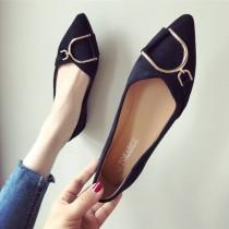 【現貨黑40 免運】金屬淺口絨面簡約尖頭平底鞋休閒鞋工作鞋(2色) X RUNWAY FASHION ICON